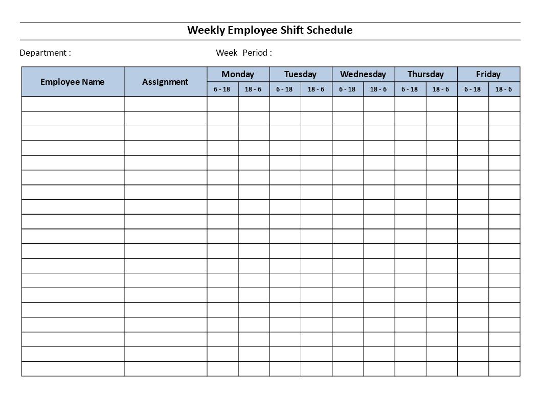 Weekly Employee 12 Hour Shift Schedule Mon To Fri - Weekly