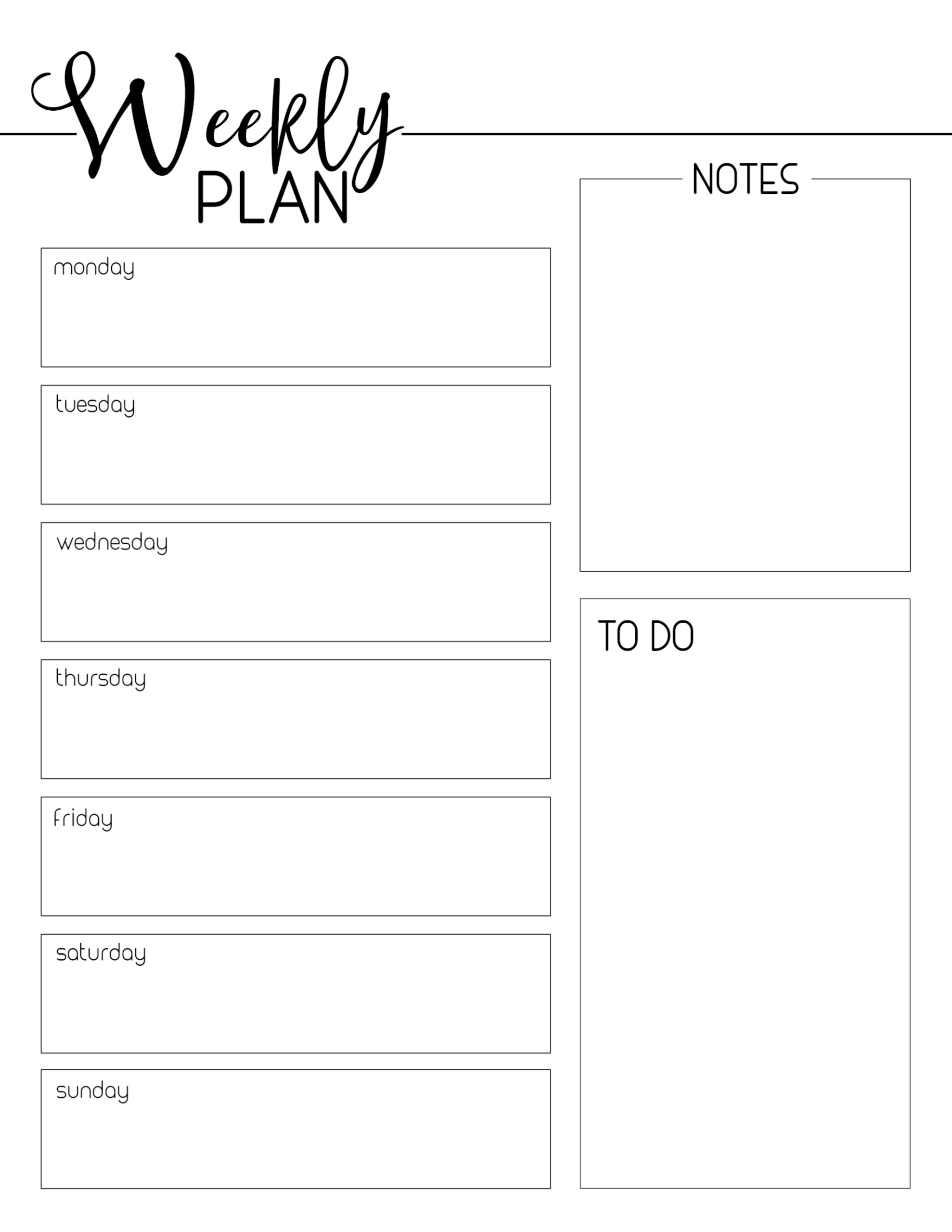 Weekly Planner Template Free Printable | Paper Trail Design