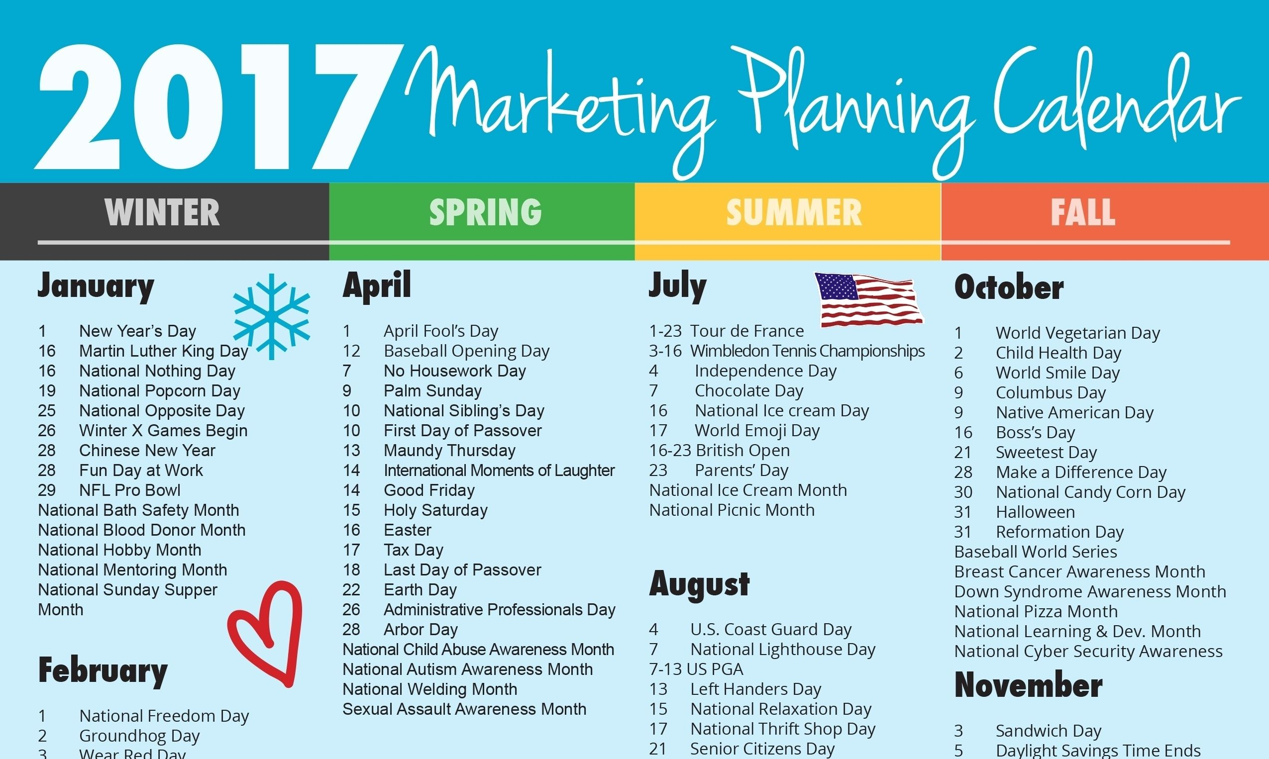 Year Calendar Of National Days | Marketing Planning Calendar