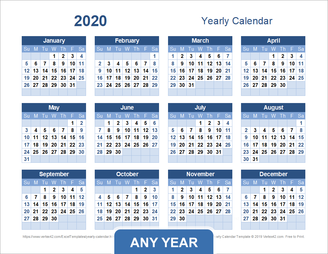 Yearly Calendar Template For 2021 And Beyond