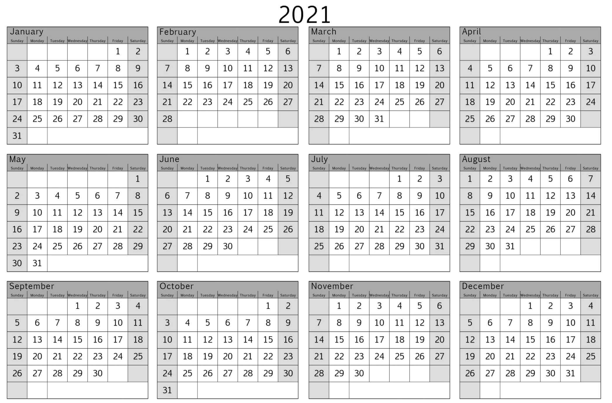 Yearly Calendar With Notes 2021 Editable Template - Set Your