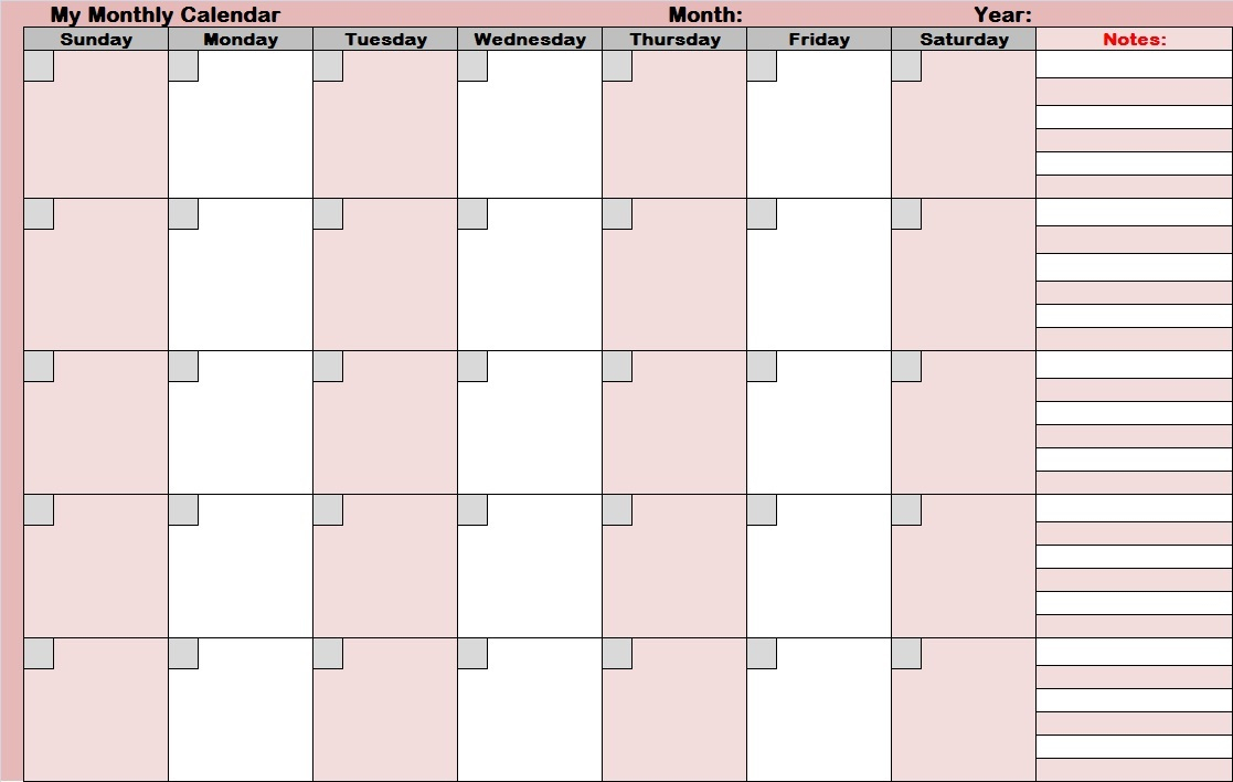 14 Blank Activity Calendar Template Images - Printable