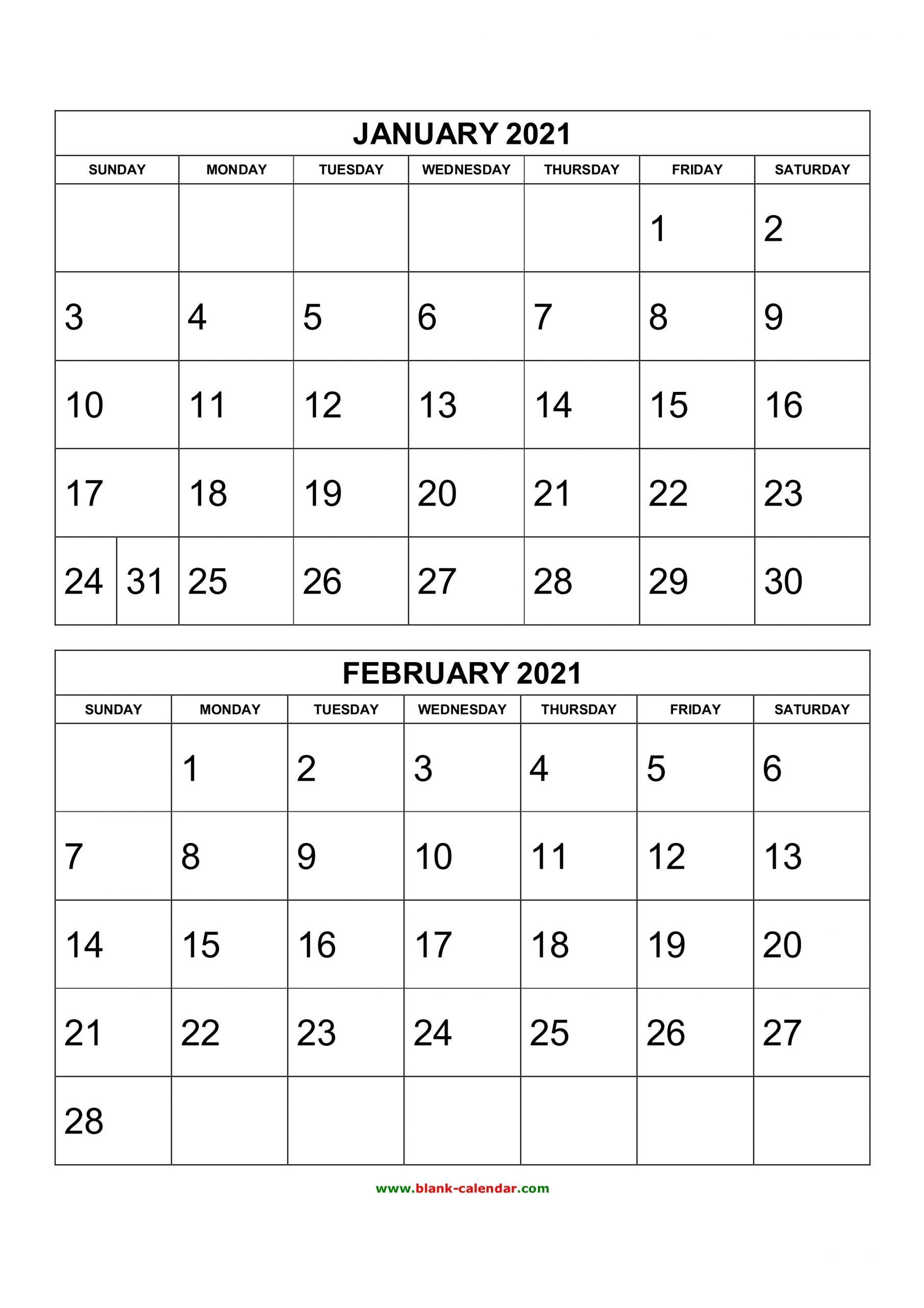 2 Page Monthly Calendar 2021 | Calendar Template Printable