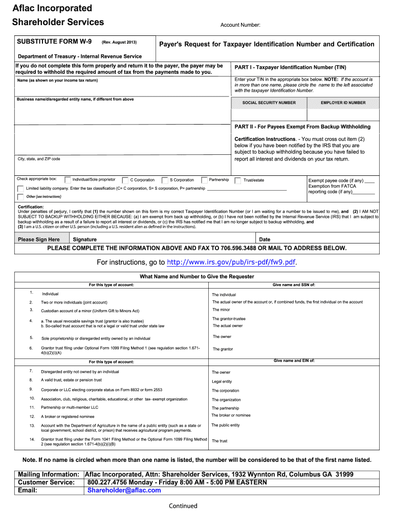 2011 Form Aflac Substitute W-9 Fill Online, Printable