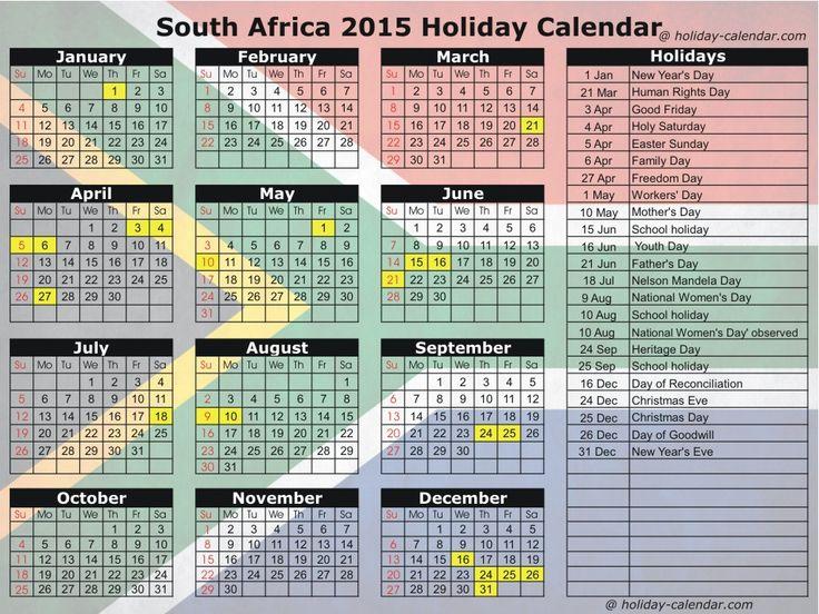 2015 Calendar South Africa Including Public Holidays