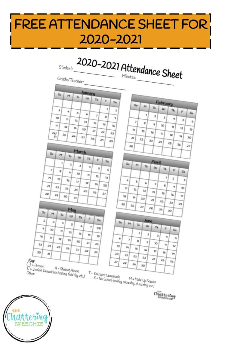 2020-2021 Attendance Sheet Freebie In 2020   Attendance