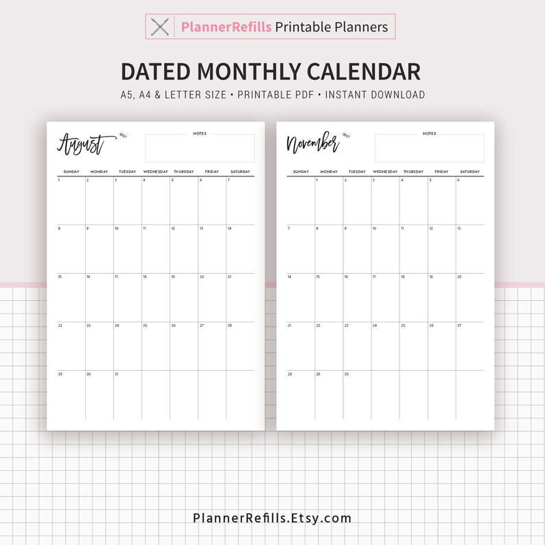 2020-2021 Dated Monthly Calendar Monthly Planner Printable | Etsy