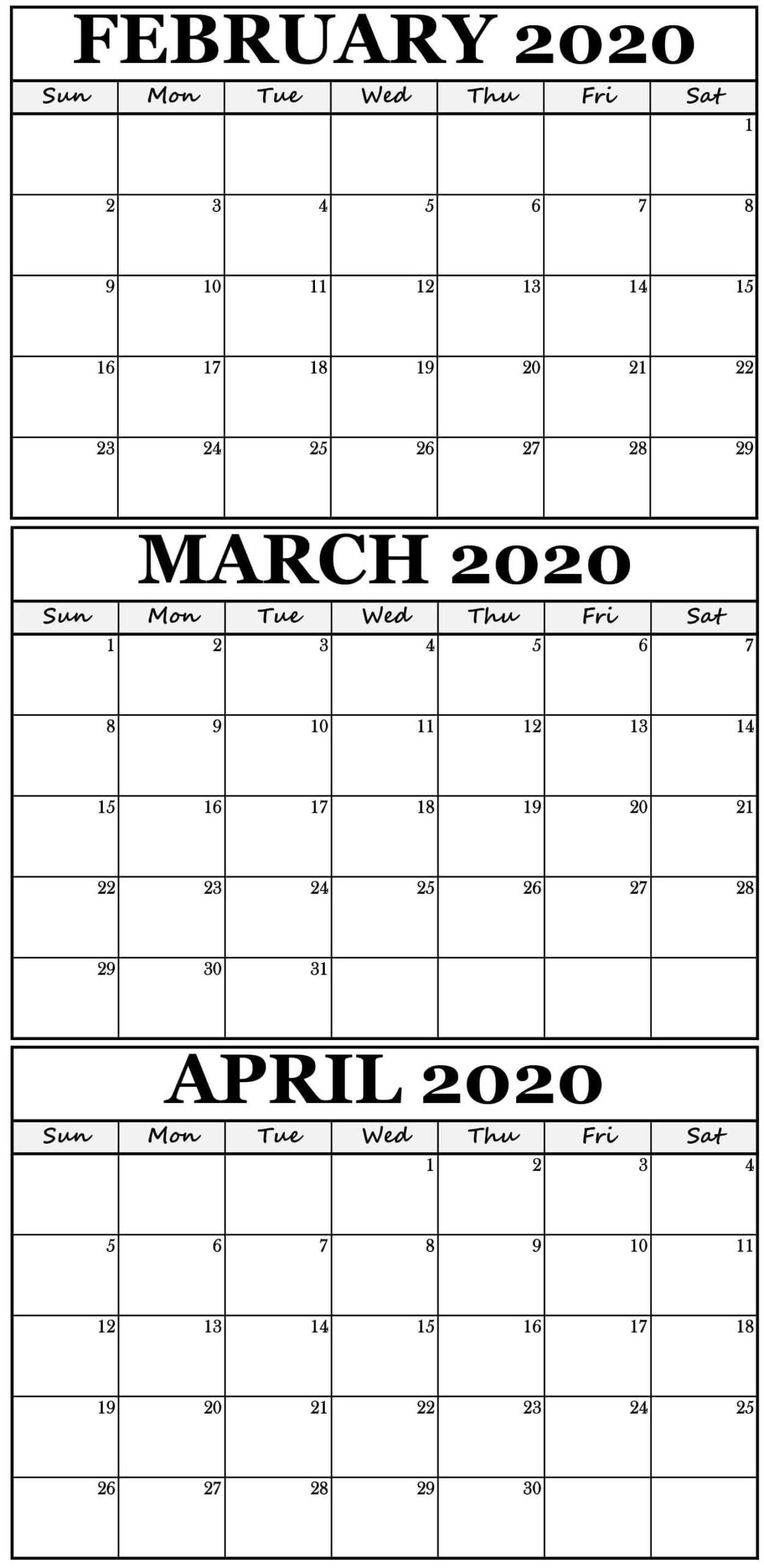 2020 February 3 Month Calendar Template   3 Month Calendar