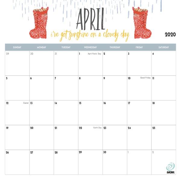 2020 Printable Calendar For Moms - Imom