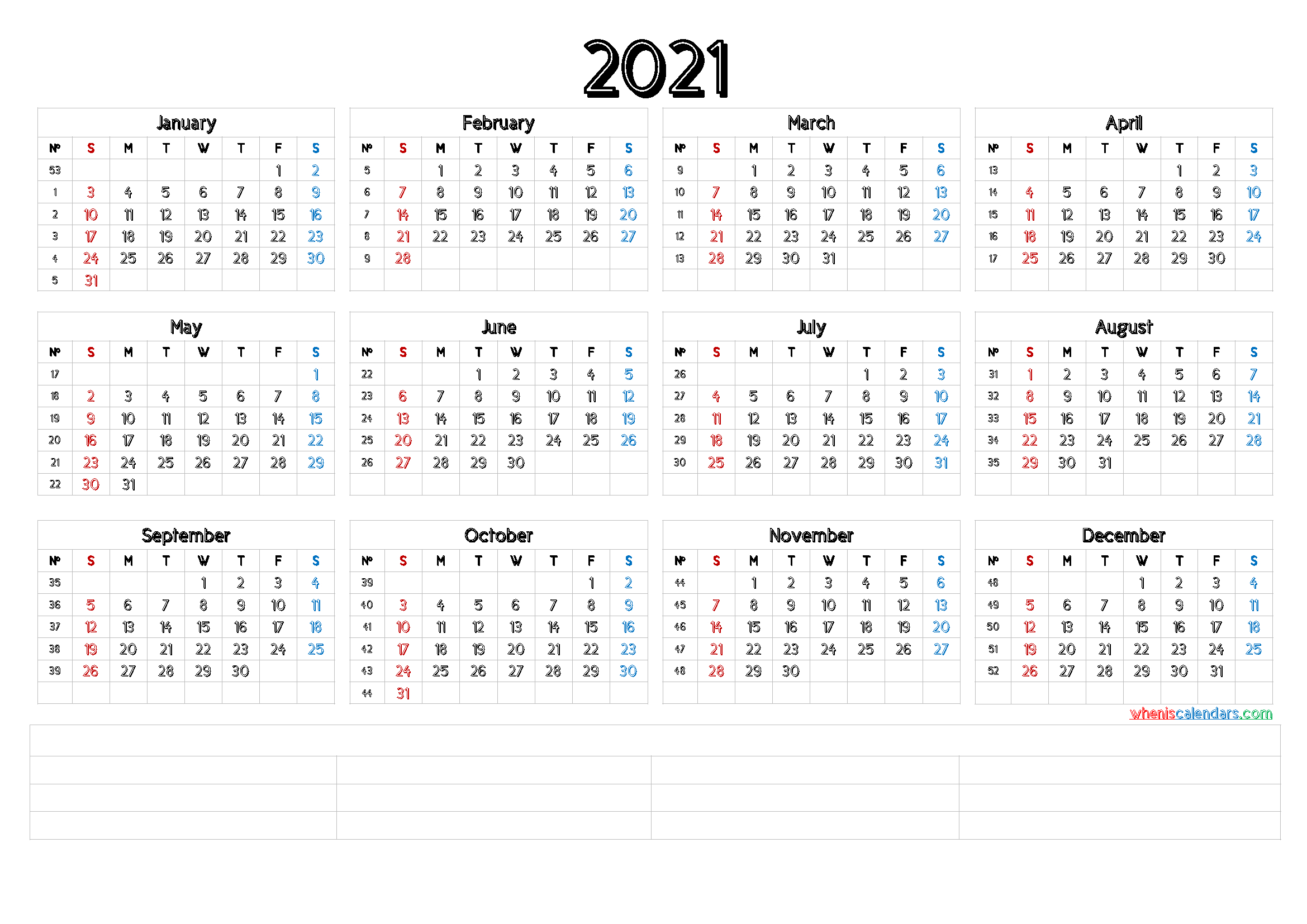 2021 Annual Calendar Printable (6 Templates)