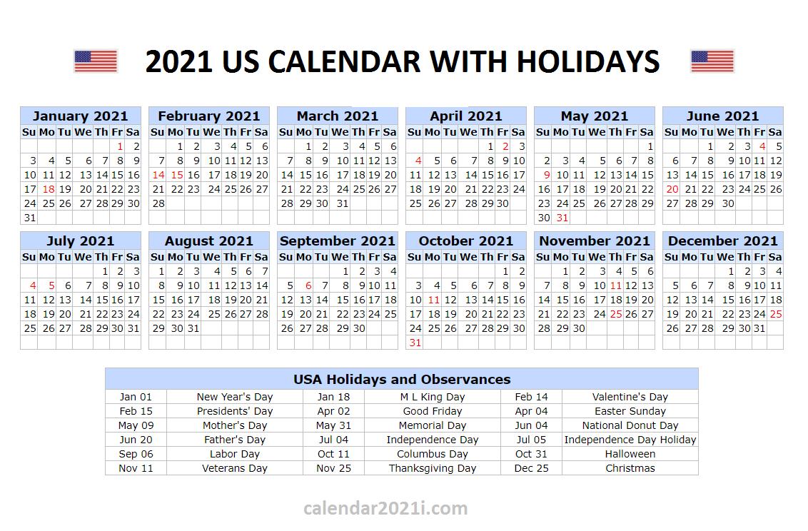 2021 Calendar Holidays And Observances | Lunar Calendar
