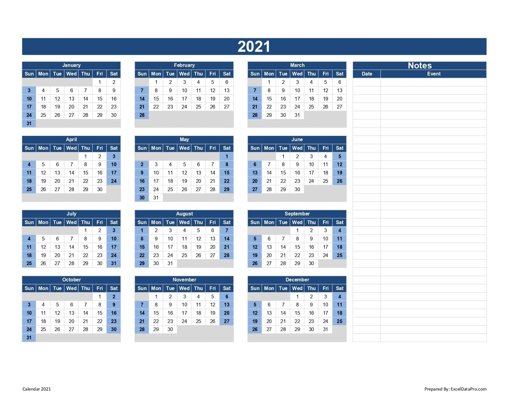 2021 Calendar To Fill In   Calendar Printables Free Blank