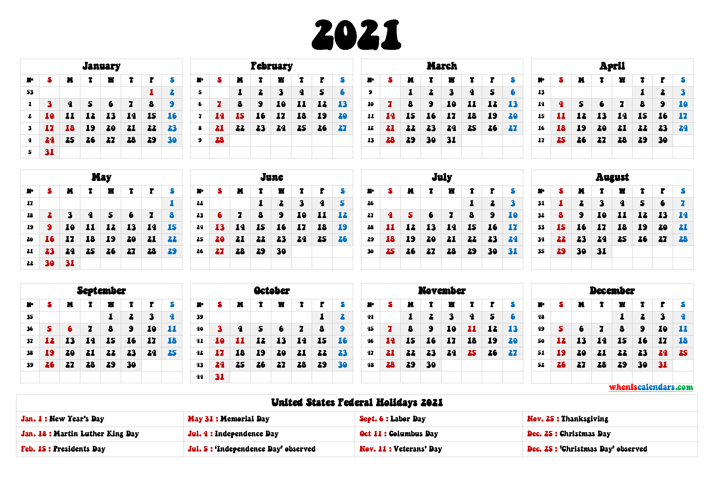 2021 Calendar With Holidays Printable - 6 Templates   Free