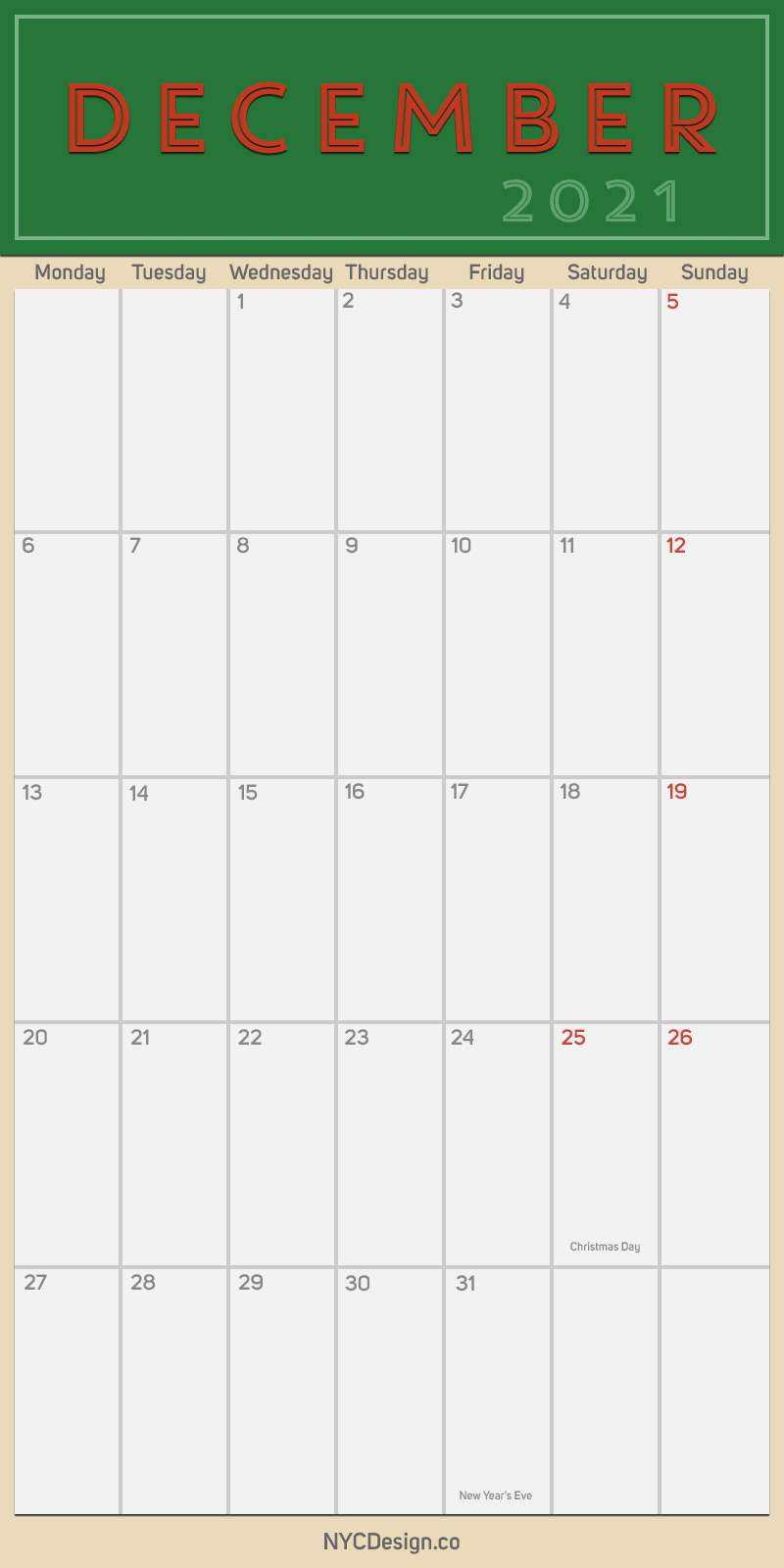 2021 December - Monthly Calendar With Holidays, Printable