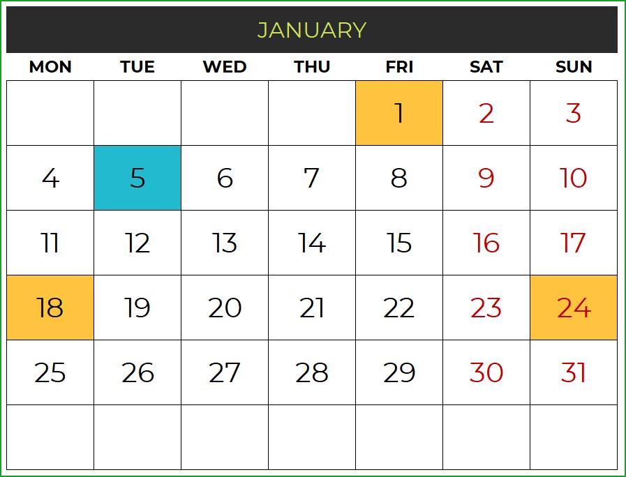 2021 Excel Calendar Template - Free Download - Spreadsheet