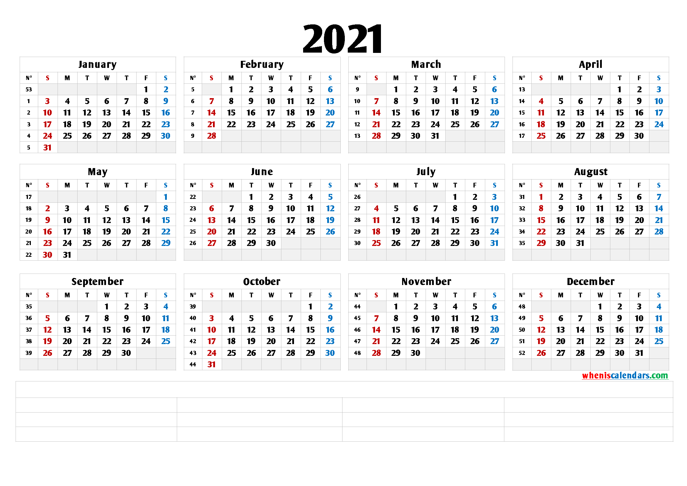 2021 Free Printable Yearly Calendar (6 Templates) | Free