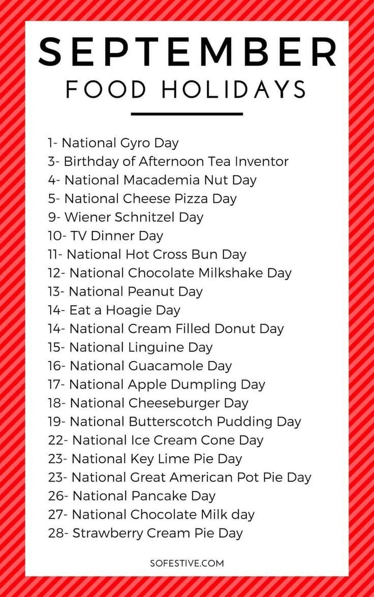 2021 National Food Holidays Printable   Calendar Template