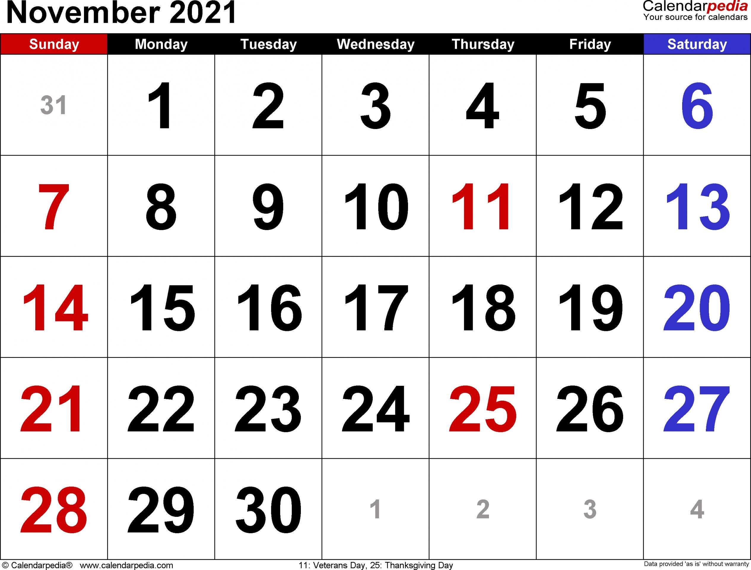 2021 November Calendar Printable   Free Letter Templates