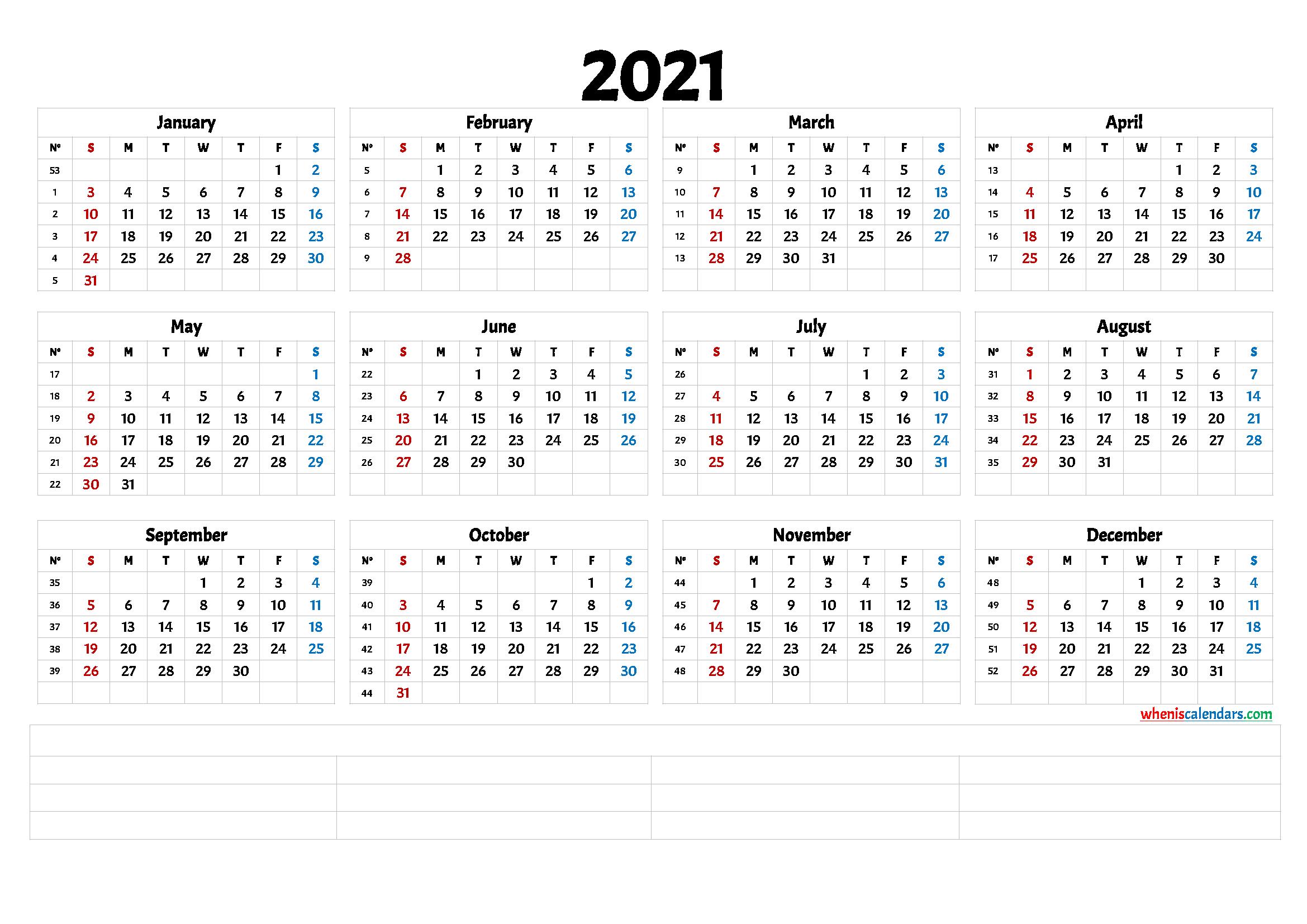 2021 Printable Yearly Calendar With Week Numbers