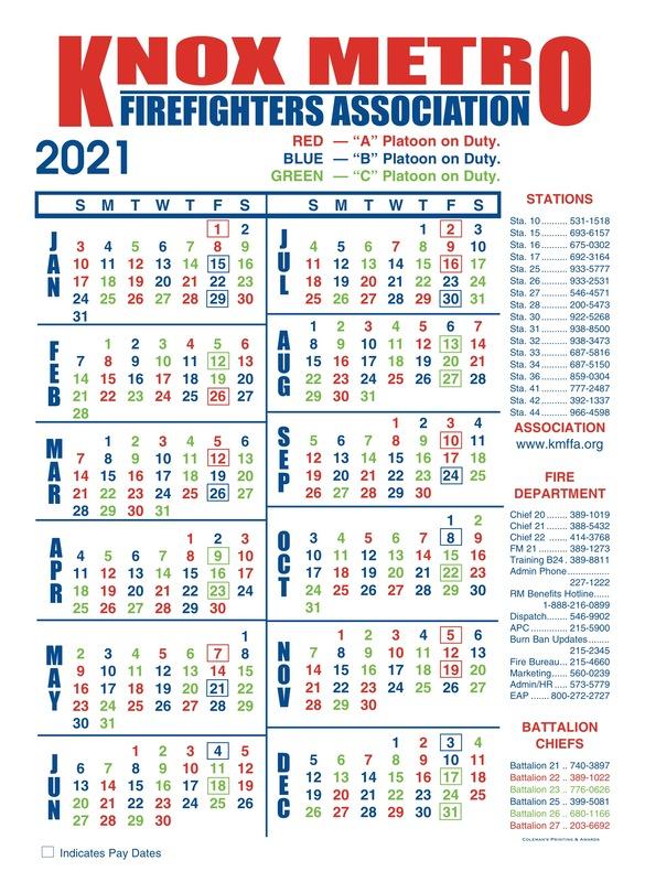 2021 Shift Calendar