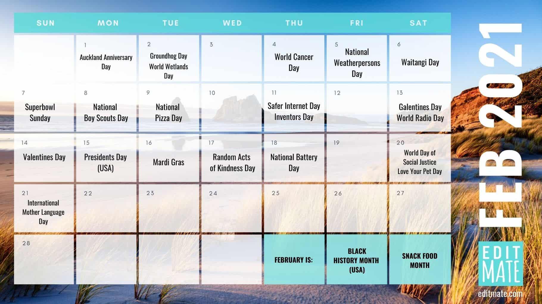 2021 Social Media Holiday Calendar | Editmate
