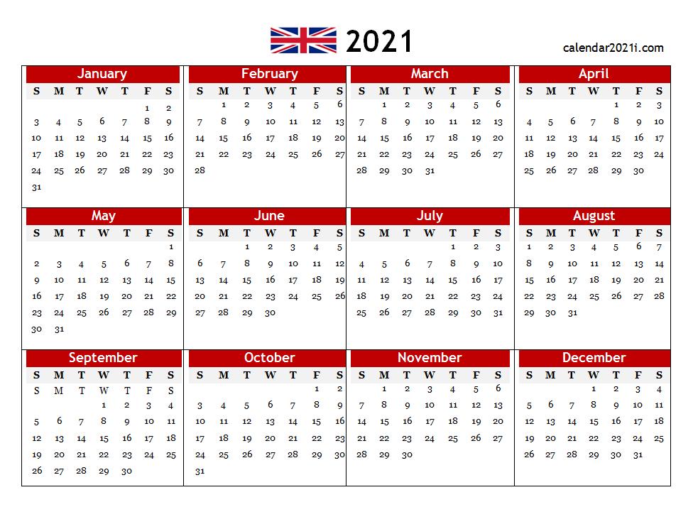 2021 Uk Pdf Calendar Printable | Calendar Printables