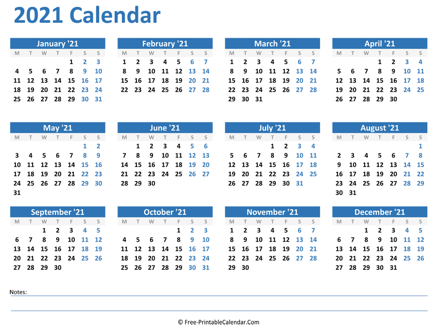 2021 Yearly Calendar With Notes (Horizontal Layout)