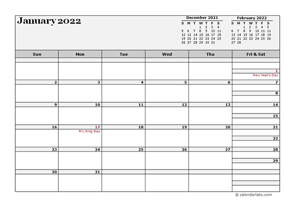 2022 Monthly Planner Template Landscape - Free Printable