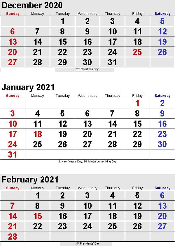 3 Month Calendar 2021 Printable Free To Take | Printable