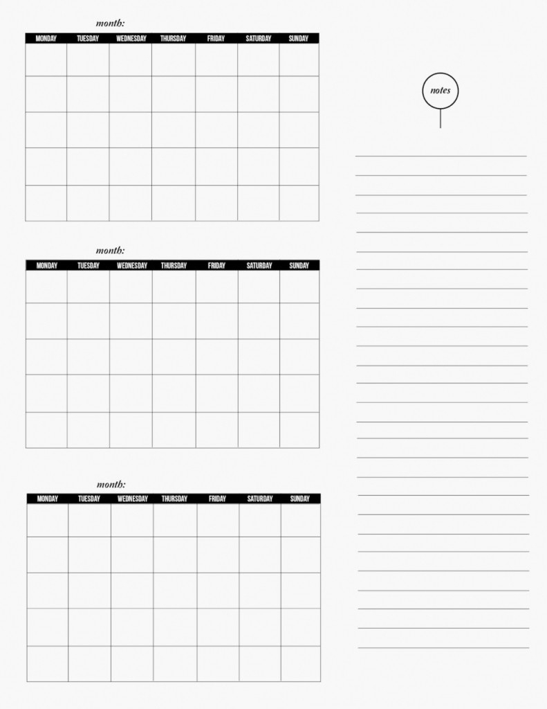 3 Month Editable Calendar Template   Example Calendar