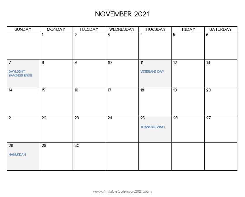 44+ November 2021 Calendar Printable, November 2021