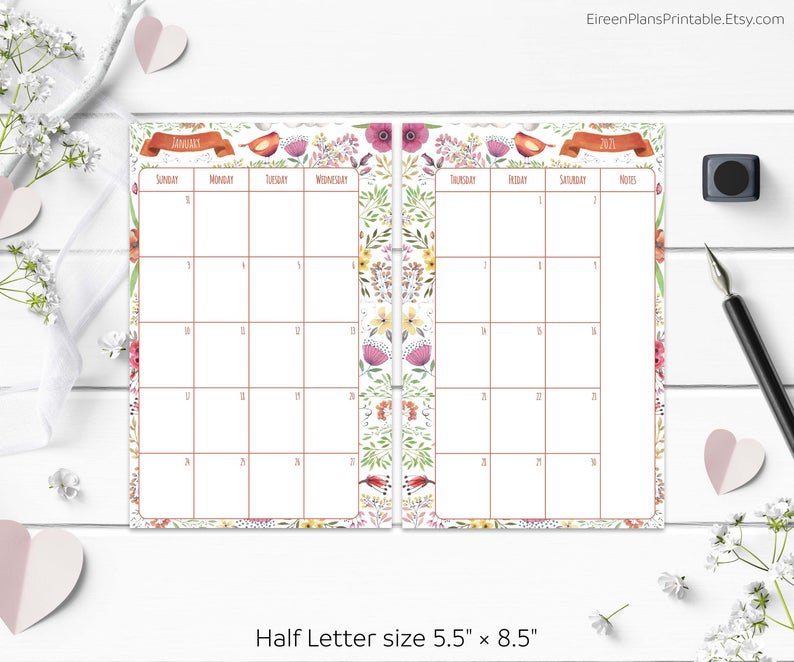 5.5 X 8.5 2021 Monthly Planner Printable Refill Calendar