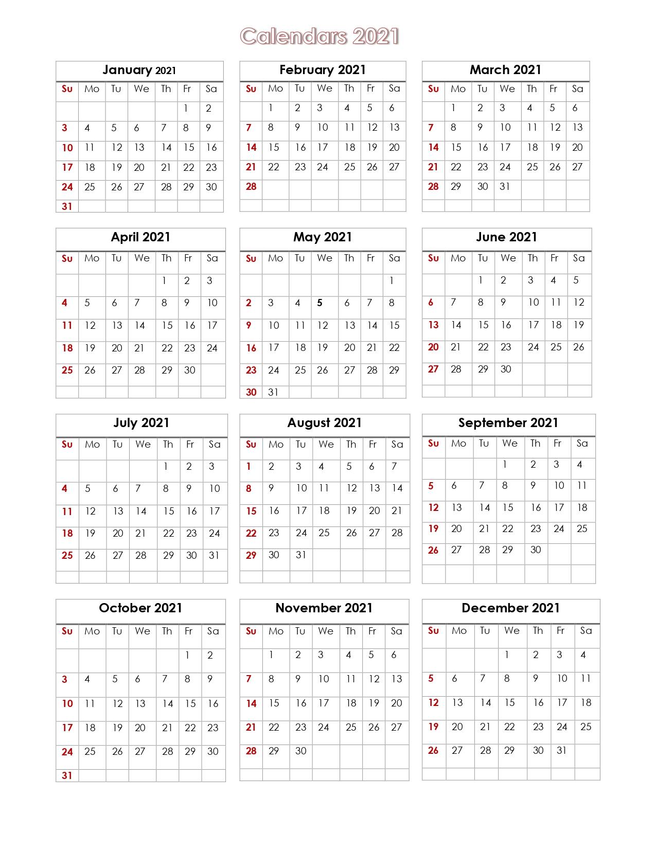 56+ Printable Calendar 2021 One Page, Printable 2021