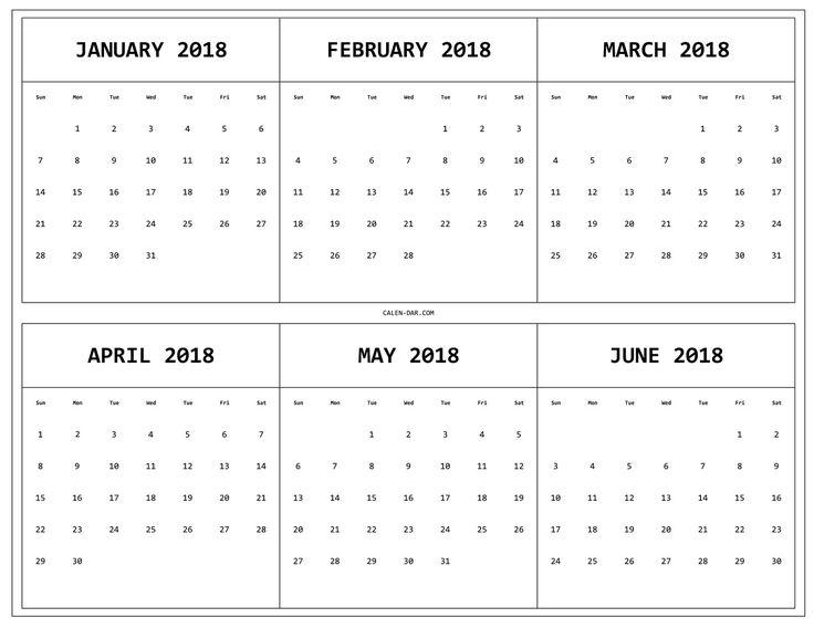 6 Month 2018 Calendar Printable   Calendar Template, Blank