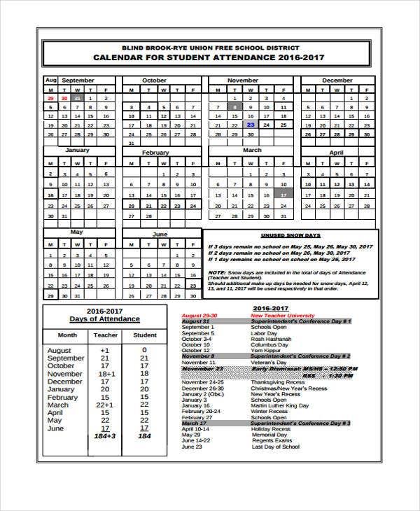 7+ Attendance Calendar Templates - Free Word, Pdf Format
