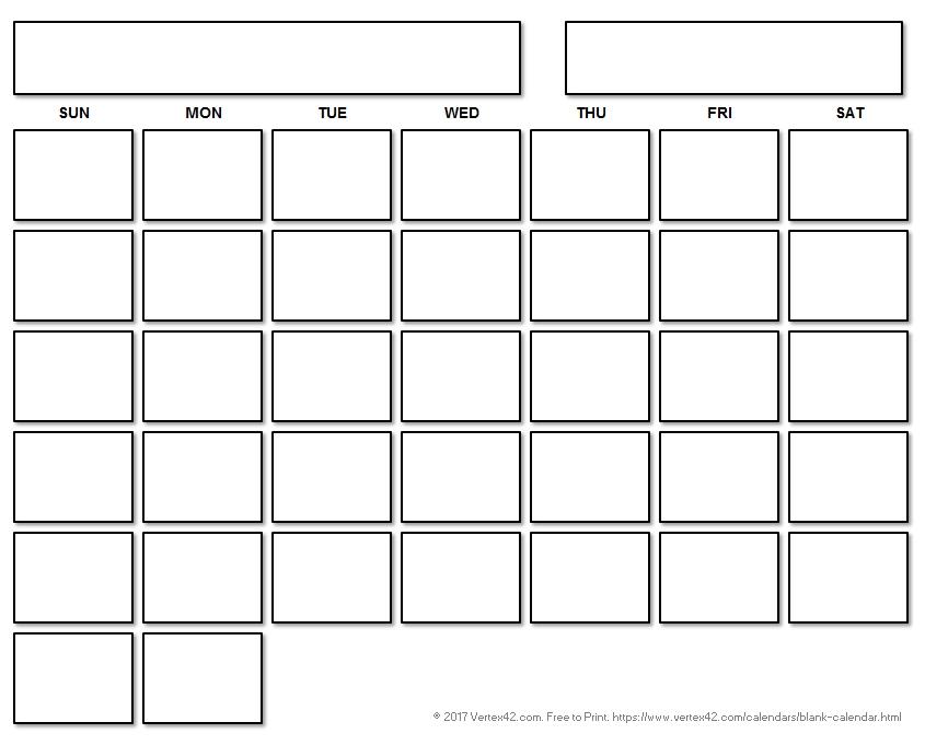 8X11 Blank Month Template Graphics   Calendar Template 2020