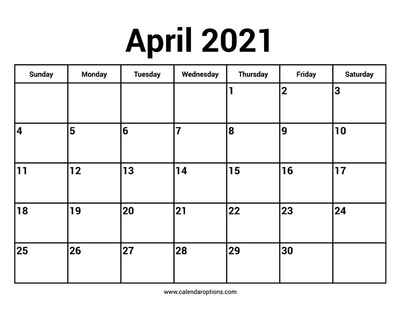 April 2021 Calendars - Calendar Options