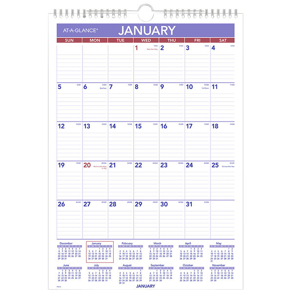 """At-A-Glance Pm228 12"""" X 17"""" Monthly January 2021"""