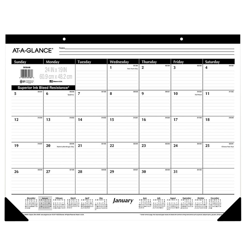 """At-A-Glance Sk3000 24"""" X 19"""" Monthly January 2021"""
