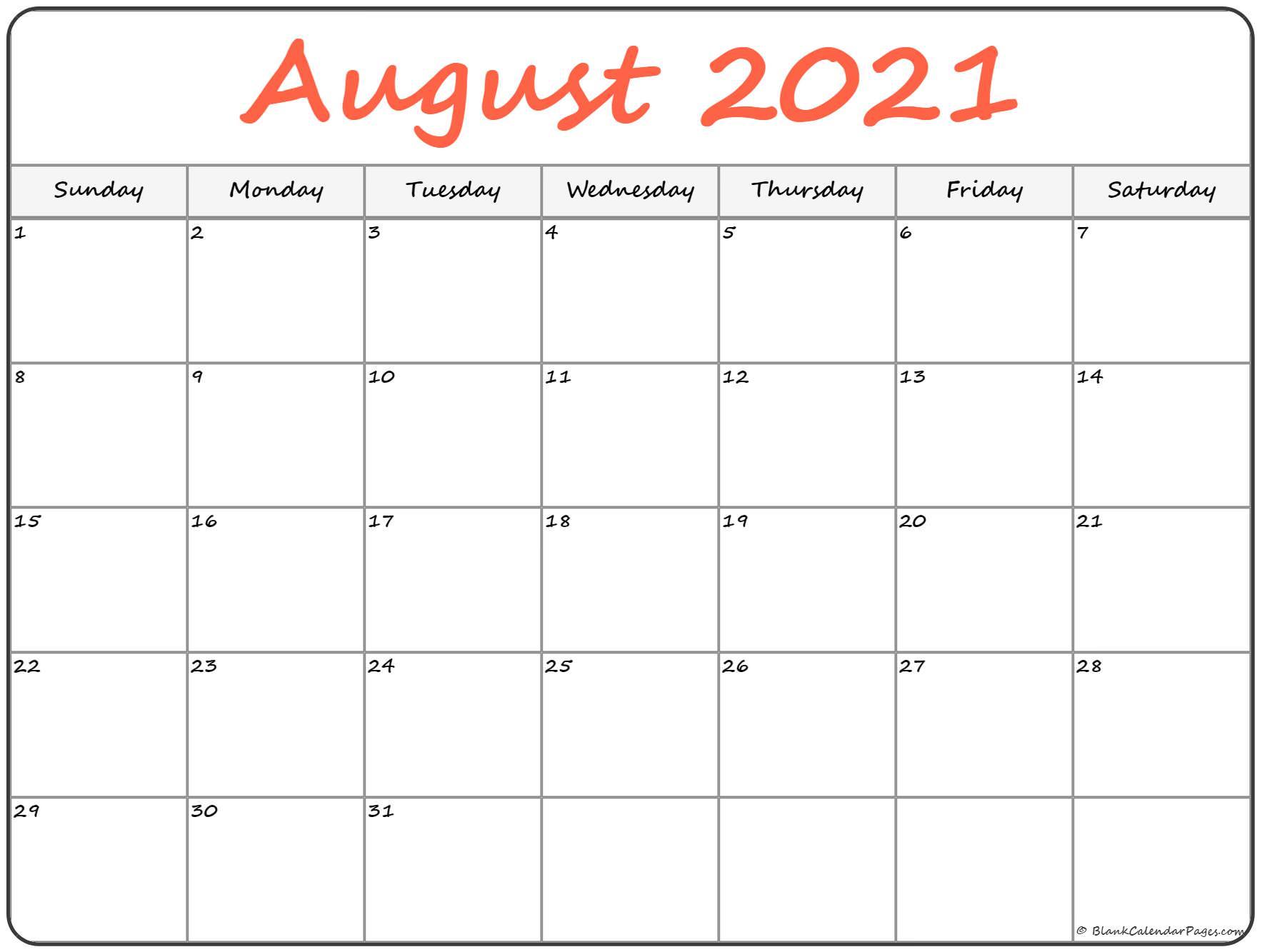 August 2021 Calendar   Free Printable Calendar Templates