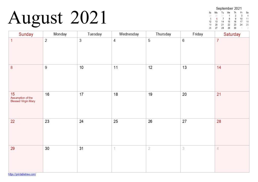 August 2021 Printable Calendar Pdf Templates Free Download