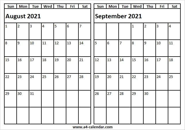 August September 2021 Calendar To Print - A4 Calendar