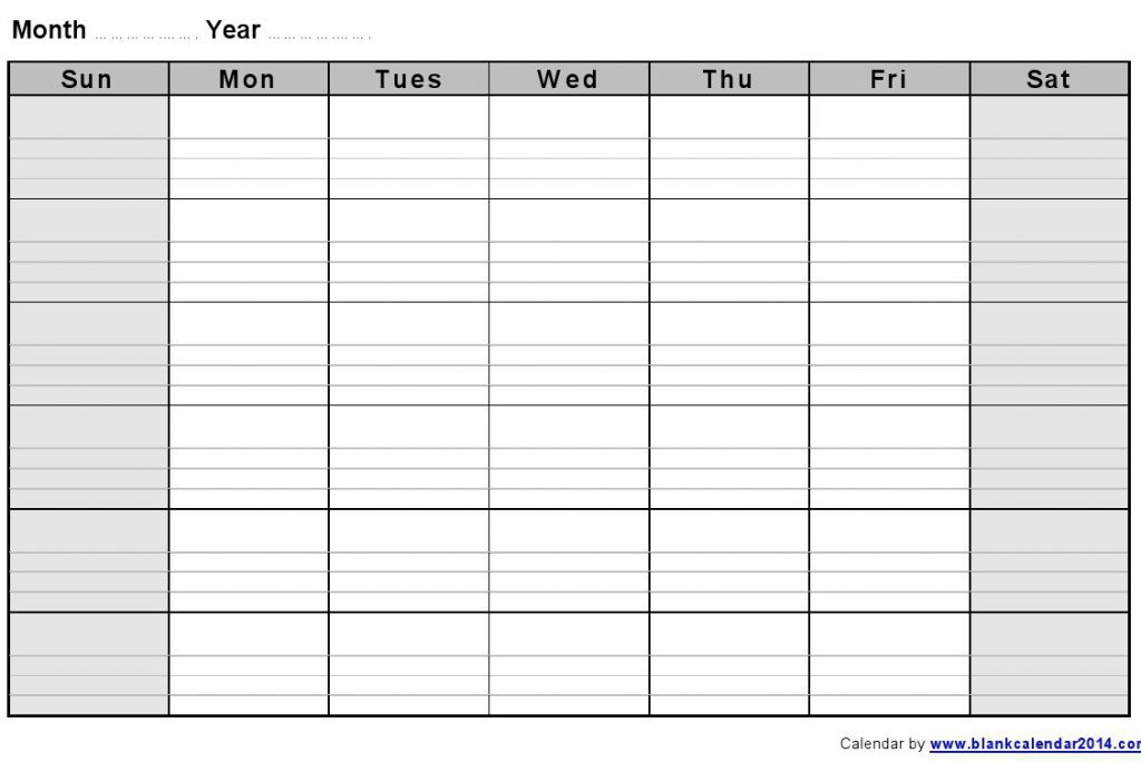 Blank Calendar With Lines - Printable Year Calendar