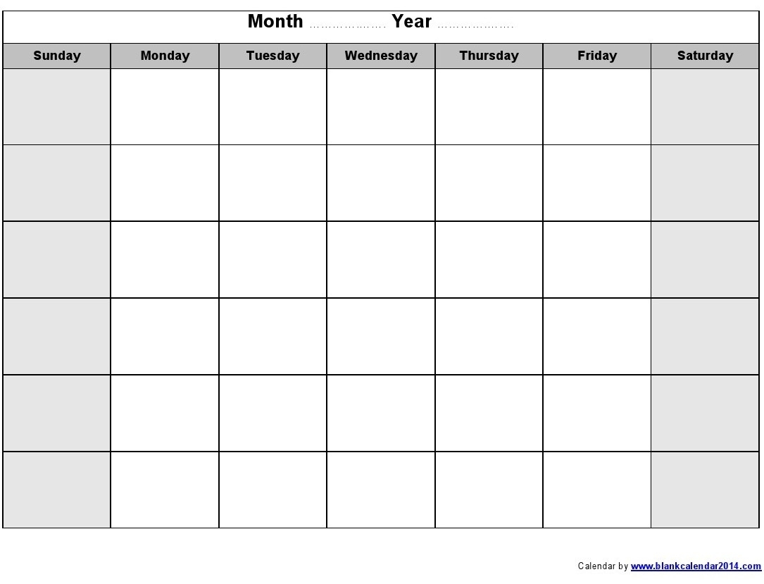 Blank Monthly Calendar Print Out - Calendar Inspiration Design