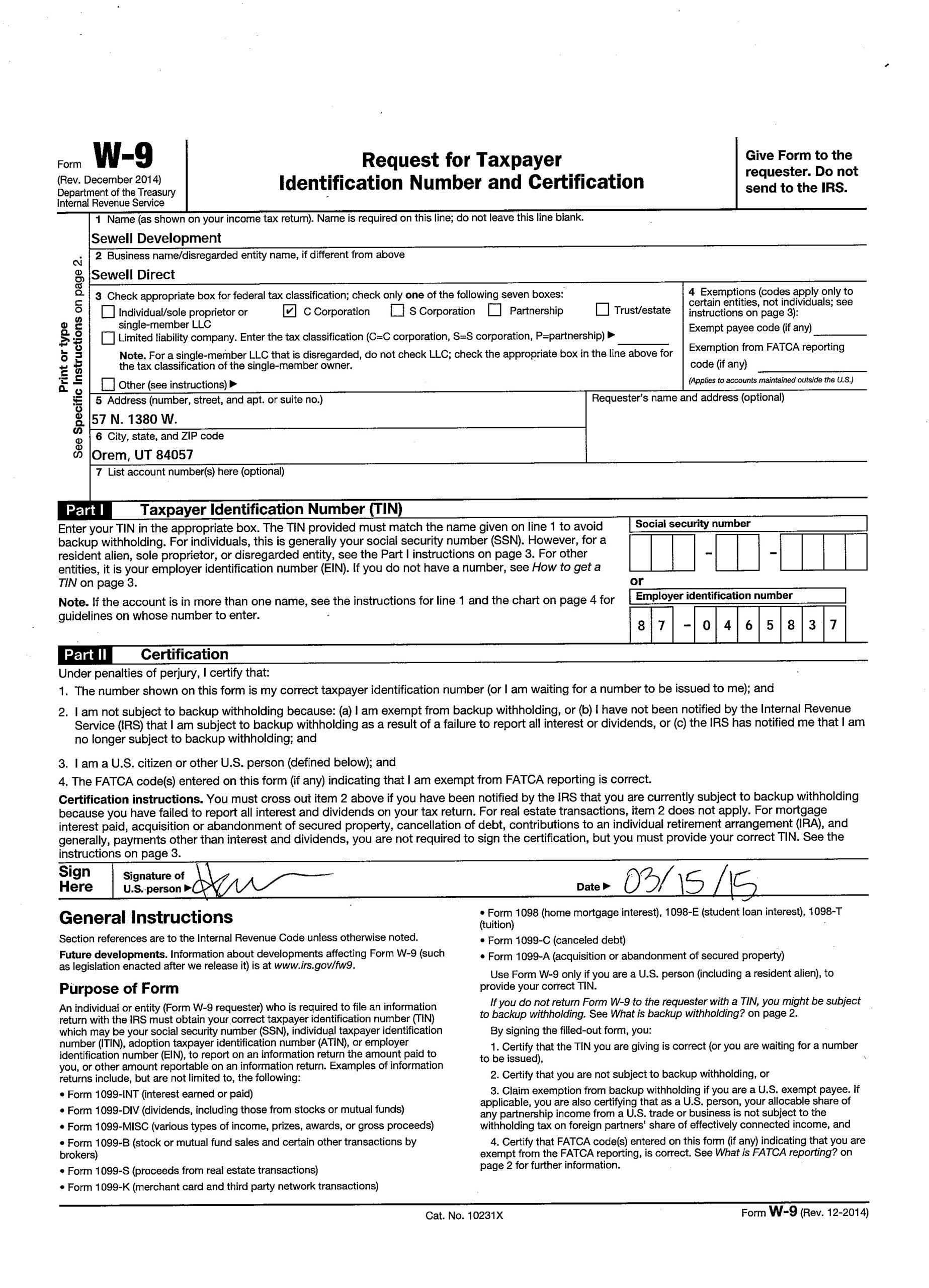 Blank W 9 Form 2020 Printable Free | Calendar Template