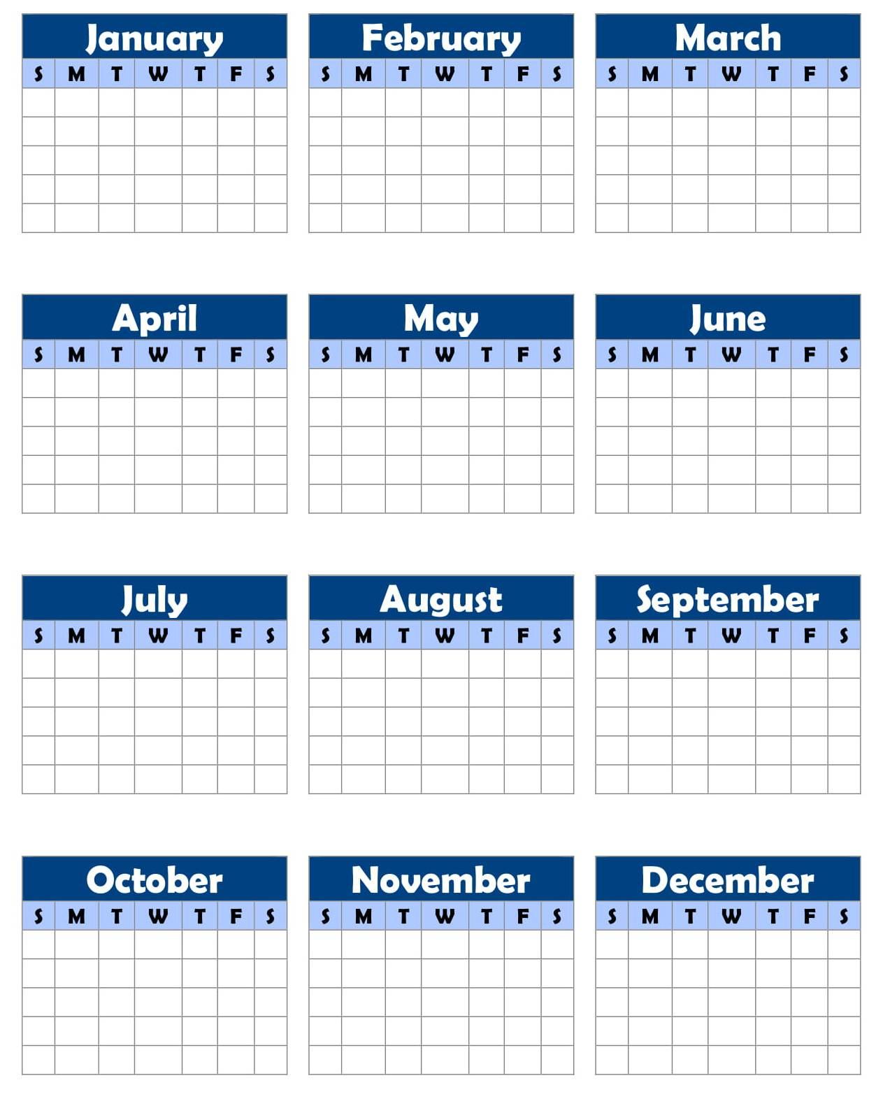 Blank Yearly Calendar Template Pdf - Calendar Printable Free