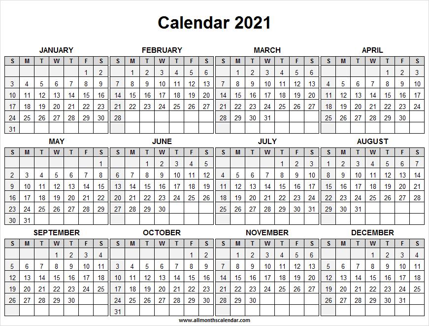 Calendar 2021 Full Year Free - Free Printable Calendar