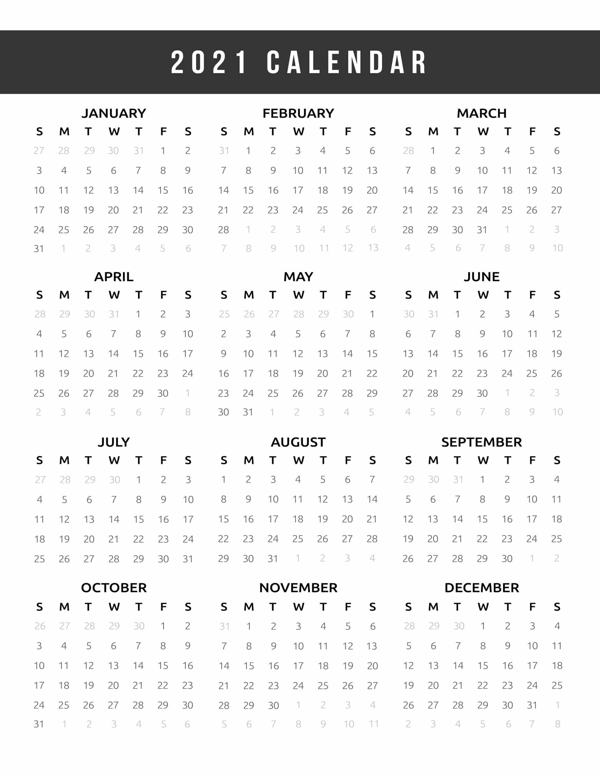 Calendar 2021 Printable One Page - World Of Printables