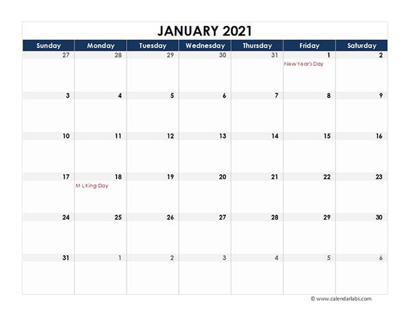 Calendar Labs Printable Calendar 2021 | Free Letter Templates