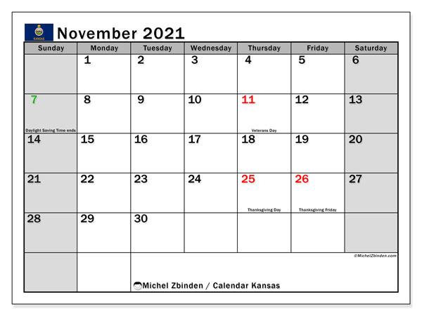 Calendar November 2021 - - Michel Zbinden En